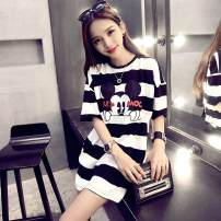 T-shirt Black and white s, black and white m, black and white L S,M,L Summer 2021 Short sleeve Crew neck easy Medium length routine commute cotton 86% (inclusive) -95% (inclusive) Solid color KK9785