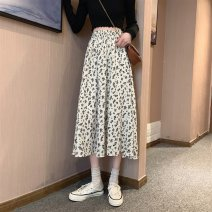 skirt Summer 2021 S M L XL Off white black Mid length dress commute High waist A-line skirt Broken flowers Type A 18-24 years old C391C 51% (inclusive) - 70% (inclusive) Dizilu polyester fiber Korean version Polyester 65% cotton 35% Pure e-commerce (online only)
