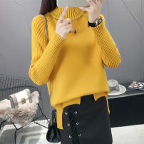 sweater Autumn of 2018 S M L XL Black orange card, dark green, off white Long sleeves Socket singleton  Regular other 95% and above Half high collar Regular commute routine Solid color Self cultivation Regular wool Keep warm and warm 18-24 years old Hexiang YX18018 Other 100%