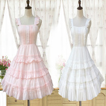 Dress Summer of 2018 Pure pink, pure white, pollen, blue flowers, black flowers S-M only suspender skirt with elastic back, l-xl only suspender skirt with elastic back Mid length dress singleton  Sleeveless Sweet square neck High waist Solid color Socket A-line skirt other camisole 18-24 years old