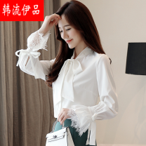 shirt White, black S,M,L,XL Summer of 2019 other 96% and above Long sleeves Versatile stand collar Single row multi button pagoda sleeve Solid color 25-29 years old Straight cylinder MIMOCC014239