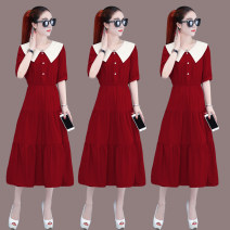 Dress Summer 2020 Peacock blue bean paste red red yellow S M L XL Mid length dress singleton  Short sleeve commute Doll Collar High waist Solid color zipper A-line skirt routine Others 30-34 years old Wanshe Korean version 060524ZW2029 51% (inclusive) - 70% (inclusive) polyester fiber