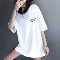 T-shirt Spring 2021 Short sleeve Crew neck easy Regular routine commute cotton 96% and above 18-24 years old Simplicity originality letter Cherry diary printing Cotton 96% polyurethane elastic fiber (spandex) 4% Pure e-commerce (online only)