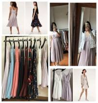 Dress Spring 2017 No.1 lavender, No.2 Morandi blue, No.3 pink orange, No.4 black left, No.5 reddish brown right, No.6 black flower, No.7 Tibetan blue flower, No.8 White Medium skirt, No.9 Lavender medium skirt XXS,XS,S,M,L longuette singleton  Sleeveless street V-neck High waist A-line skirt camisole