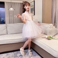 Dress White, pink female Other / other 110cm,120cm,130cm,140cm,150cm,160cm Other 100% summer Chinese style Short sleeve Plants and flowers Chiffon Princess Dress Class B Chinese Mainland