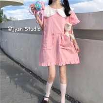 Dress Summer 2021 Girl powder Average size Middle-skirt singleton  Short sleeve Sweet Doll Collar Loose waist Solid color Socket A-line skirt Lotus leaf sleeve 18-24 years old Type A 81% (inclusive) - 90% (inclusive) other solar system