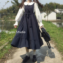 Dress Spring 2021 White shirt, black strap skirt, blue strap skirt Average size Mid length dress Two piece set Sleeveless Sweet High waist Solid color other A-line skirt straps 18-24 years old Type A Bow tie 81% (inclusive) - 90% (inclusive) other other solar system