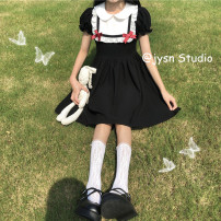 Dress Summer 2021 Picture color Average size Middle-skirt singleton  Short sleeve Sweet Doll Collar High waist Solid color Socket A-line skirt puff sleeve 18-24 years old Type A bow 81% (inclusive) - 90% (inclusive) other polyester fiber Lolita