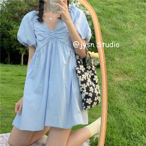 Dress Summer 2021 wathet Average size Middle-skirt singleton  Short sleeve commute V-neck High waist Solid color Socket A-line skirt puff sleeve 18-24 years old Type A Korean version 51% (inclusive) - 70% (inclusive) other polyester fiber