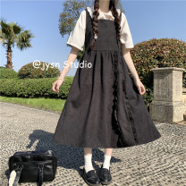 Dress Summer 2021 White shirt, red strap skirt, black strap skirt Average size Mid length dress Two piece set Sweet High waist Solid color Socket A-line skirt 18-24 years old Type A Other / other More than 95% other cotton solar system
