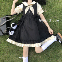 Dress Summer 2021 Bows, Dresses Average size Mid length dress singleton  Short sleeve Sweet Admiral High waist Solid color Socket A-line skirt bishop sleeve 18-24 years old Type A Bowknot, stitching 51% (inclusive) - 70% (inclusive) other Lolita