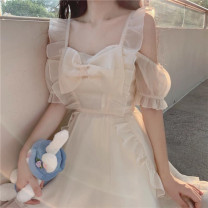 Dress Spring 2021 Picture color Average size Middle-skirt singleton  Short sleeve Sweet square neck High waist Solid color Socket Princess Dress 18-24 years old Type A Bow tie, Auricularia auricula other other solar system