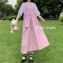 Dress Summer 2021 T-shirt, shirt, pink strap skirt (with bag), blue strap skirt (with bag) Average size Mid length dress Two piece set Sleeveless Sweet High waist Solid color Socket A-line skirt straps 18-24 years old Type A 31% (inclusive) - 50% (inclusive) other cotton solar system