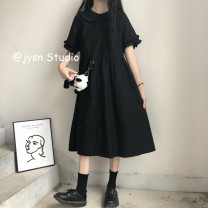 Dress Summer 2021 Picture color Average size Mid length dress singleton  Short sleeve Sweet Doll Collar High waist Solid color Socket A-line skirt Petal sleeve 18-24 years old Type A 81% (inclusive) - 90% (inclusive) other solar system