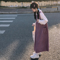 Dress Autumn 2020 One purple shirt, one vest and one dress Average size Mid length dress Two piece set Sleeveless Sweet square neck Loose waist Solid color Socket A-line skirt straps 18-24 years old Type A solar system