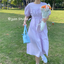 Dress Summer 2021 White, purple Average size Mid length dress singleton  Short sleeve commute Crew neck High waist Solid color Socket A-line skirt puff sleeve 18-24 years old Type A Korean version Frenulum 51% (inclusive) - 70% (inclusive) other polyester fiber