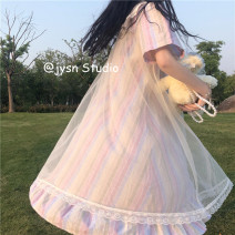 Dress Summer 2021 Picture color Average size Mid length dress singleton  Short sleeve Sweet Doll Collar Loose waist other Single breasted Princess Dress routine 18-24 years old Type A Gauze 81% (inclusive) - 90% (inclusive) other solar system