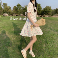 Dress Summer 2021 Picture color Average size Middle-skirt singleton  Short sleeve Sweet square neck High waist Decor Socket A-line skirt puff sleeve 18-24 years old Type A Lace up, printed 51% (inclusive) - 70% (inclusive) other polyester fiber solar system