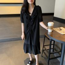 Dress 25-29 years old Summer 2020 Medium length skirt Short sleeve singleton  commute V-neck Loose waist Solid color Condom Ruffle Skirt other Korean version Other S,M,L,XL,2XL