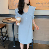 Dress Summer 2020 Light blue S,M,L,XL,2XL Mid length dress singleton  Short sleeve commute Doll Collar Solid color other puff sleeve 25-29 years old Type A Korean version