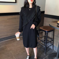 Dress Spring 2021 Black [in stock] S,M,L,XL,2XL,3XL Mid length dress singleton  Long sleeves commute Crew neck Loose waist Solid color Socket other other Others 25-29 years old Korean version