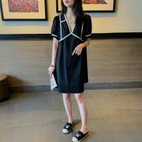 Dress Summer 2020 Black [in stock] S,M,L,XL,2XL Mid length dress singleton  Short sleeve commute V-neck Solid color Socket A-line skirt puff sleeve 25-29 years old Type A Korean version
