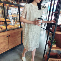 Dress Summer of 2019 Beige [in stock], black [in stock] S,M,L,XL,2XL Mid length dress singleton  Short sleeve commute Crew neck Loose waist Solid color Socket other other 25-29 years old Korean version