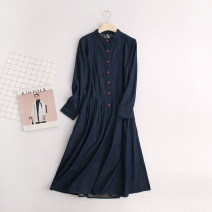 Dress Spring 2020 navy blue S M L XL longuette singleton  Long sleeves street stand collar High waist Single breasted Others 30-34 years old Type A Bavoli DD20265 More than 95% other Other 100% Pure e-commerce (online only) Europe and America
