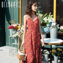 Dress Spring 2021 Red flower S M L XL Mid length dress singleton  Sleeveless Sweet V-neck High waist Broken flowers Socket A-line skirt camisole 18-24 years old Type A Meeting printing More than 95% polyester fiber Polyester 100% Bohemia Pure e-commerce (online only)