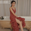Dress Spring 2021 Broken flowers on red background S M L XL Mid length dress singleton  Sleeveless Sweet V-neck High waist Broken flowers Socket Cake skirt camisole 18-24 years old Type A Meeting Ruffle printing QHS01146 More than 95% polyester fiber Polyester 100% Bohemia