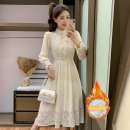 Dress Winter 2021 Apricot spring and autumn regular, apricot Plush S,M,L,XL,XXL Mid length dress singleton  Long sleeves commute Half high collar Solid color A-line skirt routine Others 18-24 years old Type A Korean version NBA 51% (inclusive) - 70% (inclusive) Lace polyester fiber