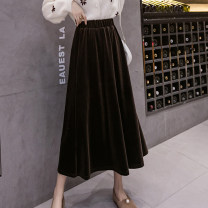 skirt Winter 2021 S,M,L,XL Black, brown Mid length dress commute High waist A-line skirt Solid color Type A 18-24 years old D520 51% (inclusive) - 70% (inclusive) Korean version