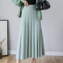 skirt Autumn 2021 S,M,L,XL Black, grey, apricot, light green, cream grey longuette commute High waist Pleated skirt Solid color Type A 18-24 years old j123 51% (inclusive) - 70% (inclusive) knitting other Korean version