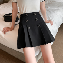 skirt Summer 2021 S,M,L,XL White, black Short skirt commute High waist A-line skirt Solid color Type A 18-24 years old JZT 51% (inclusive) - 70% (inclusive) polyester fiber Button Korean version