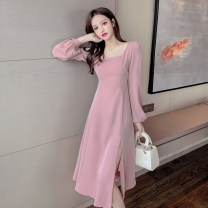Dress Spring 2021 Black, pink S,M,L,XL Mid length dress singleton  Long sleeves commute square neck High waist Solid color Socket A-line skirt bishop sleeve Others 18-24 years old Type A Korean version Splicing D123 51% (inclusive) - 70% (inclusive) other polyester fiber
