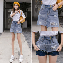 skirt Spring 2021 S,M,L,XL,2XL blue Short skirt commute High waist A-line skirt Solid color Type A 18-24 years old LZ123 51% (inclusive) - 70% (inclusive) Denim other Korean version