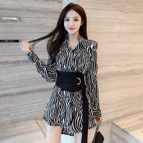 Dress Spring 2021 black S,M,L,XL Mid length dress Two piece set Long sleeves commute V-neck High waist stripe Socket A-line skirt routine 18-24 years old Type A Korean version D123 51% (inclusive) - 70% (inclusive) cotton