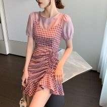 Dress Summer 2021 Yellow, pink S,M,L,XL Short skirt singleton  Short sleeve commute Crew neck High waist lattice Socket A-line skirt other Others 18-24 years old Type A Korean version D123 51% (inclusive) - 70% (inclusive)
