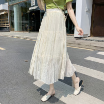 skirt Spring 2021 S,M,L Apricot, white, black Mid length dress commute High waist A-line skirt Solid color Type A 18-24 years old JZT 51% (inclusive) - 70% (inclusive) Korean version