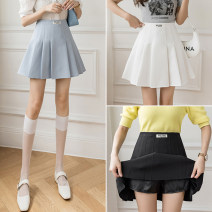 skirt Summer 2021 S,M,L,XL White, blue, black Short skirt commute High waist Pleated skirt Solid color Type A 18-24 years old GT 51% (inclusive) - 70% (inclusive) fold Korean version