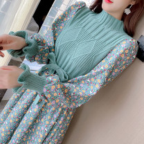 Dress Winter 2021 Red, green S,M,L,XL Mid length dress Fake two pieces Long sleeves commute Half high collar Broken flowers Socket Big swing bishop sleeve Others 18-24 years old Type A Korean version Stitching, strapping, printing D839 51% (inclusive) - 70% (inclusive) knitting