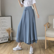 Casual pants White, blue, black, lotus root pink S,M,L,XL Summer 2021 Ninth pants Wide leg pants High waist commute ultrathin 18-24 years old 51% (inclusive) - 70% (inclusive) GT Korean version fold