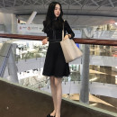 Women's large Autumn 2020 7 / 3 sleeve long sleeve Plush long sleeve S M L XL 2XL 3XL singleton  commute Long sleeves Solid color Korean version Polo collar other routine Buyido 18-24 years old Short skirt Triacetate fiber (triacetate fiber) 100% Pure e-commerce (online only)