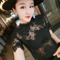 Lace / Chiffon Summer of 2019 White, black M suggests 90-100, l suggests 100-110, XL suggests 110-120, XXL suggests 120-130, XXL suggests 130-140 Short sleeve Versatile Socket singleton  Self cultivation Regular stand collar Solid color routine 25-29 years old A607 Cut out, mesh, lace