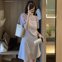 Women's large Summer 2020 Purple lace shirt white lace shirt purple suspender skirt black suspender skirt purple suit black suit S M L XL Two piece set Sweet Short sleeve Solid color Crew neck other puff sleeve TMTW50215 Meng Youlai 18-24 years old 96% and above Short skirt Other 100% Mori