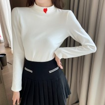 T-shirt White black M L XL XXL Winter 2020 Long sleeves Half high collar Self cultivation Regular routine commute polyester fiber 86% (inclusive) -95% (inclusive) 18-24 years old youth Solid color Tai Anli Polyester 95% polyurethane elastic fiber (spandex) 5%