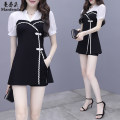 Dress Summer 2020 9127 # black 9126 # black 9123 # black S M L XL 2XL Short skirt Two piece set Short sleeve commute V-neck High waist Solid color Socket A-line skirt routine Others 18-24 years old Type A Manfendo / manfendo Korean version Pleated pocket with stitched zipper MFD3541 polyester fiber