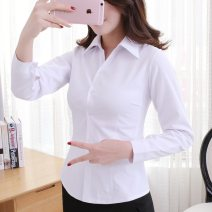 shirt cotton 31% (inclusive) - 50% (inclusive) Long sleeves commute Regular V-neck Single row multi button routine Solid color 25-29 years old Self cultivation Simplicity cotton