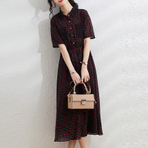 Dress Summer 2021 Red green M L XL XXL longuette singleton  Short sleeve commute square neck middle-waisted Decor Socket A-line skirt routine Others 30-34 years old Ji Meixin Korean version printing Ju 3096 More than 95% Chiffon polyester fiber Polyester 100% Pure e-commerce (online only)