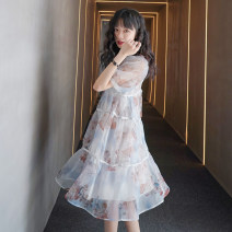Dress Summer 2020 blue S,M,L Mid length dress singleton  Short sleeve commute Crew neck High waist Solid color Socket A-line skirt 18-24 years old Type A Other / other Korean version organza